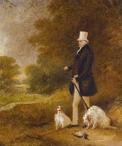 John Ferneley Ii - Portrait of Sir William Mordaunt Sturt Milner, 4th Bt. (1779 1855) with two Clumber spaniels out shooting