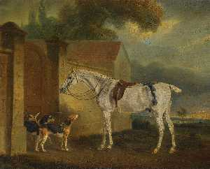 John Ferneley Ii - Lord Lonsdale's Fleabitten Grey Hunter, Brass , at Cottesmore with the Cottesmore Hounds