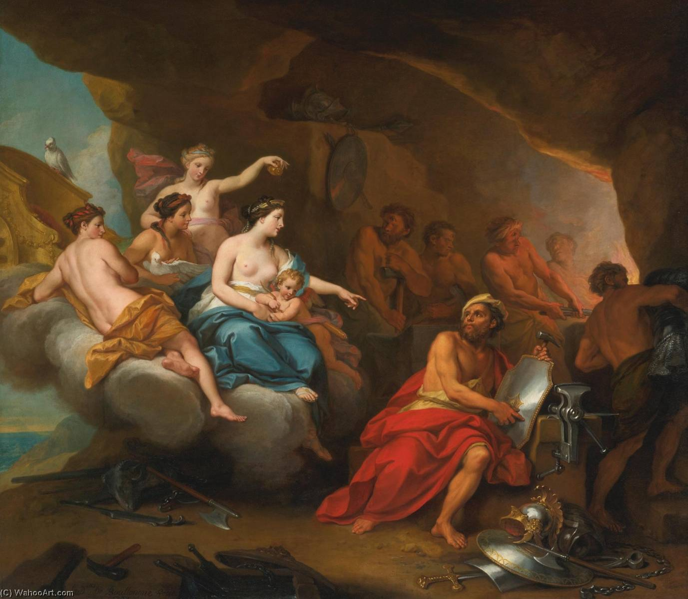 Venus in the forge of Vulcan, Oil On Canvas by Louis The Younger Boullogne (1654-1733, France)