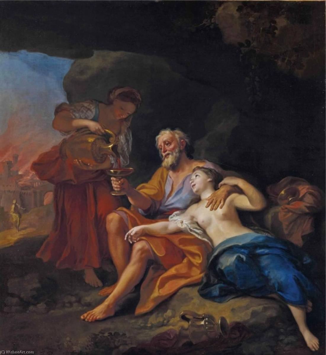 Order Art Reproductions | Loth and his Daughters by Louis De Boulogne The Younger (1654-1733) | WahooArt.com