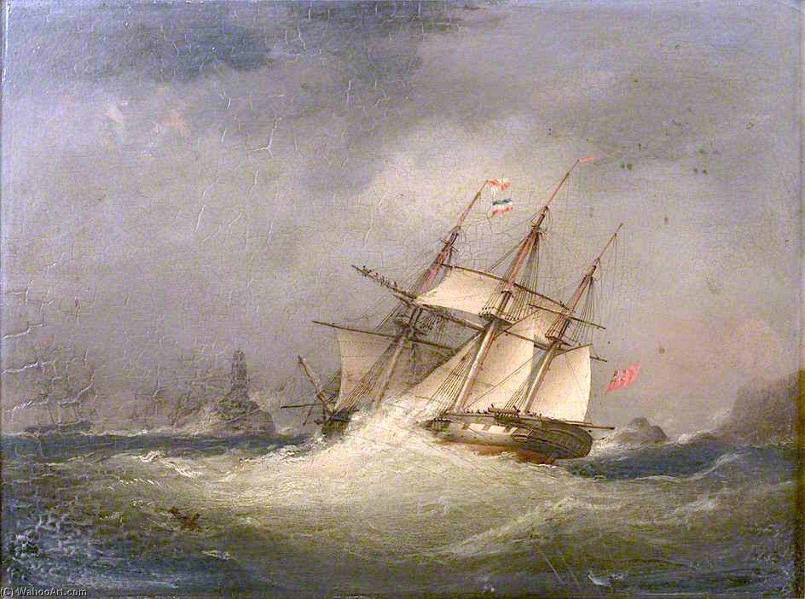 A Frigate off a Rocky Coast by Nicholas Matthew Condy (1816-1851) | Famous Paintings Reproductions | WahooArt.com