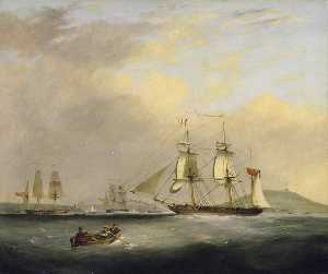 Order Famous Paintings Reproductions : HM Packet Brig `Sheldrake`, Lieutenant Passingham Entering Falmouth Harbour, 1834 by Nicholas Matthew Condy (1816-1851) | WahooArt.com