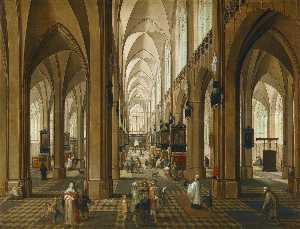 Pieter Neefs The Elder - A view of the interior of Antwerp Cathedral