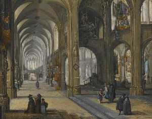 Pieter Neefs The Elder - An interior of a Gothic church, facing eastwards