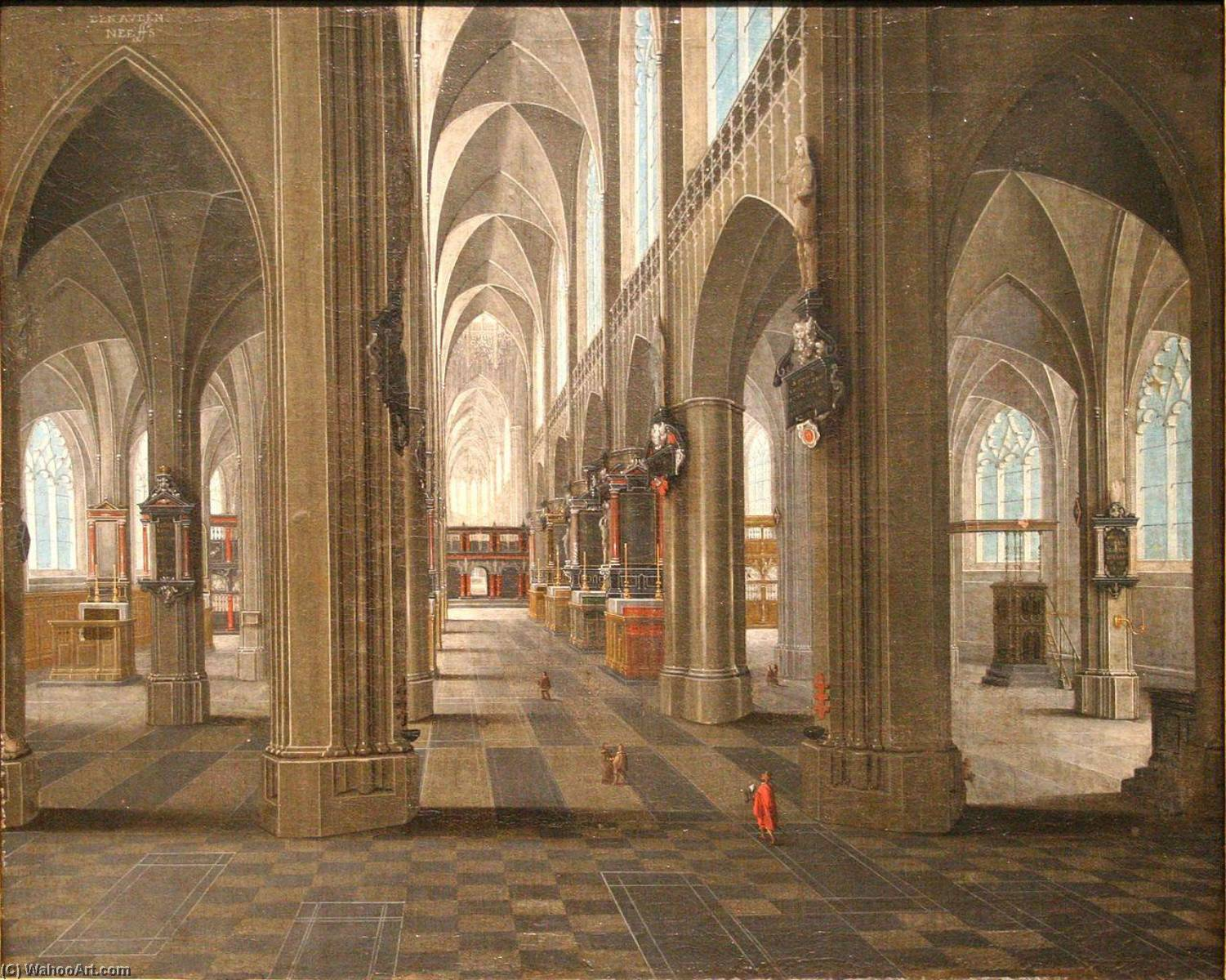 Interior of the Notre Dame Cathedral in Anvers by Pieter Neefs The Elder | Oil Painting | WahooArt.com