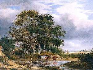 Samuel David Colkett - Landscape with Cows in a Pool by a Clump of Trees