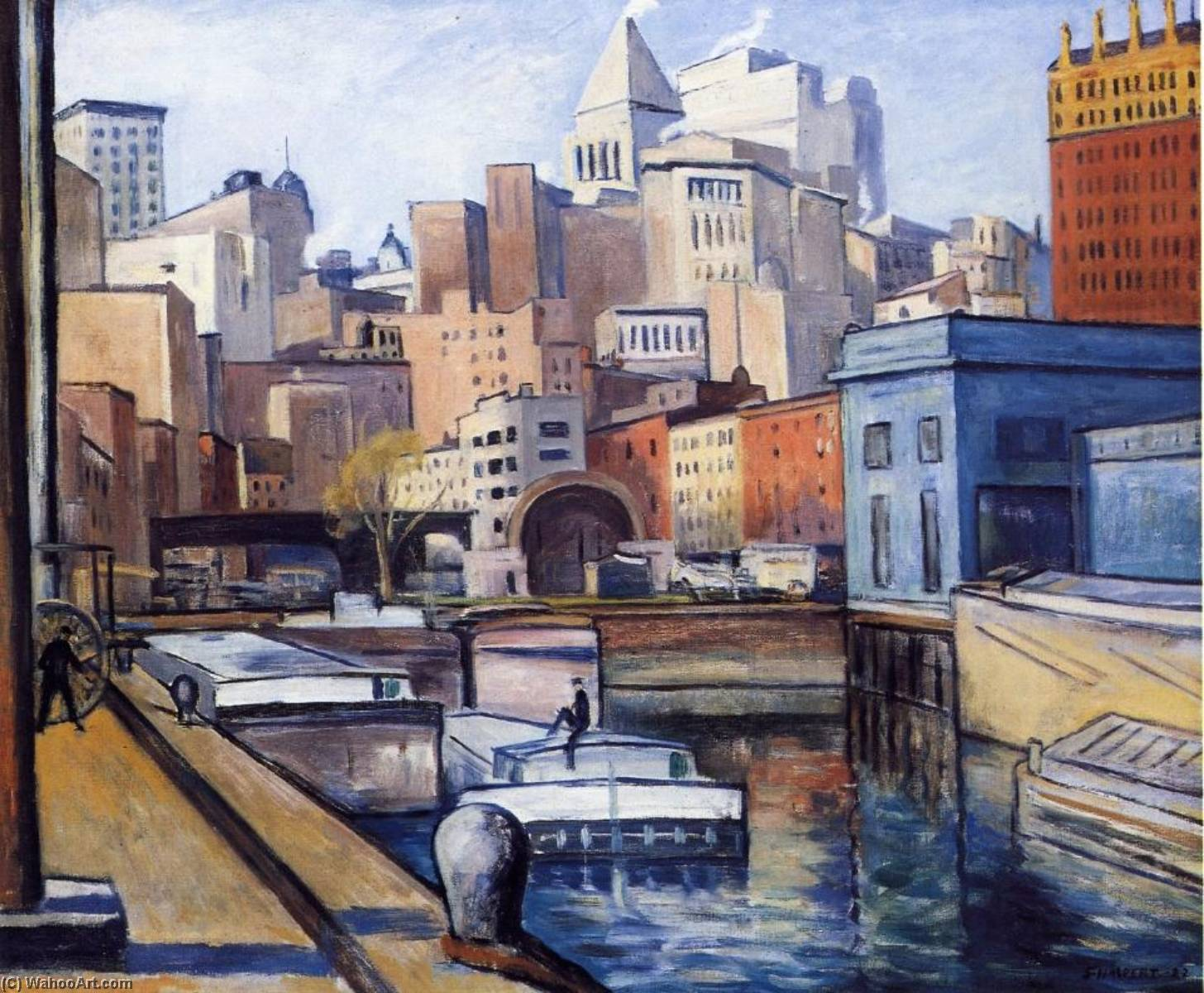 Downtown, Oil On Canvas by Samuel Halpert