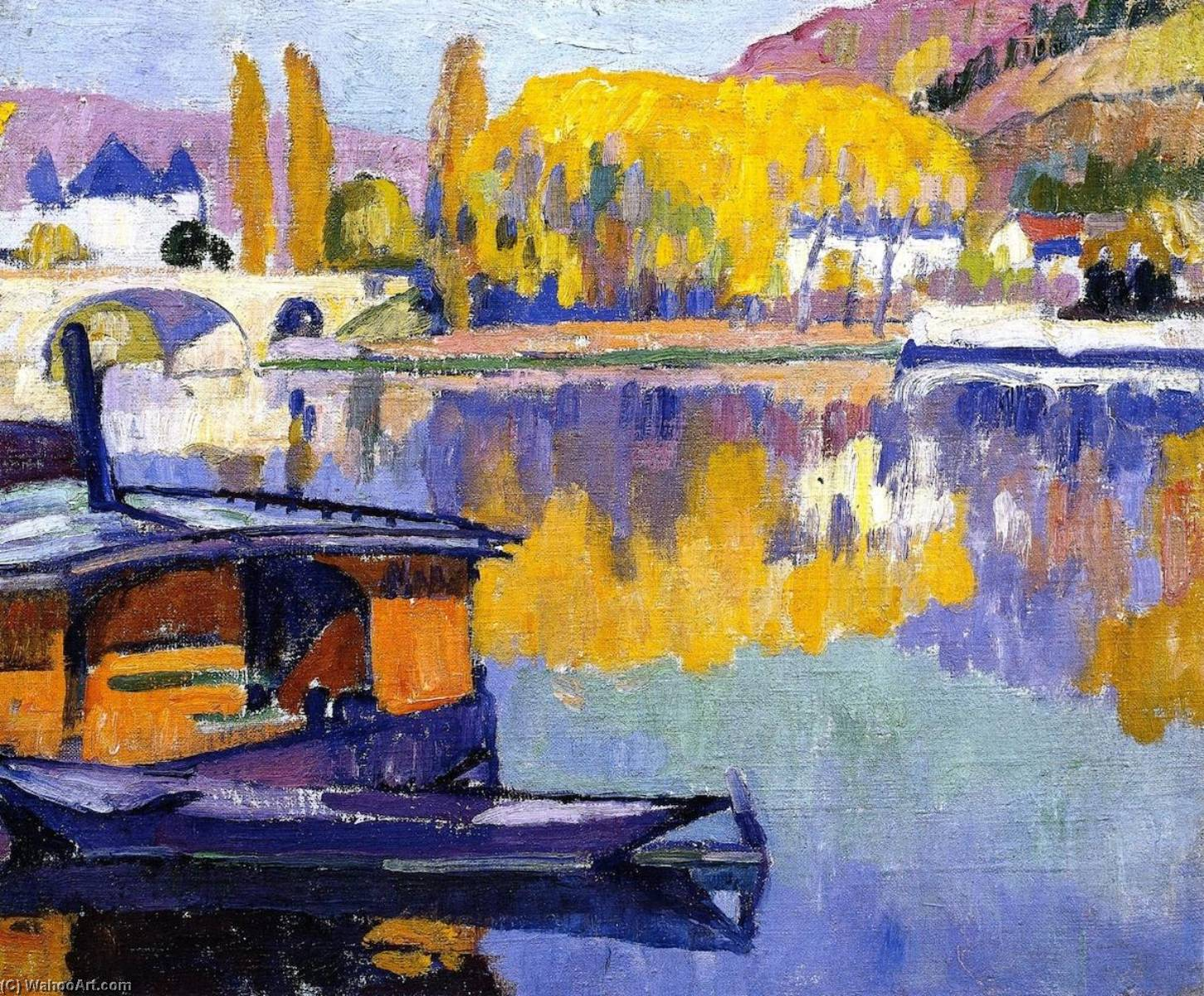 Le Pont, Vernon (also known as French Landscape), Oil On Canvas by Samuel Halpert