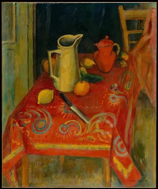 The Red Tablecloth, Oil On Canvas by Samuel Halpert