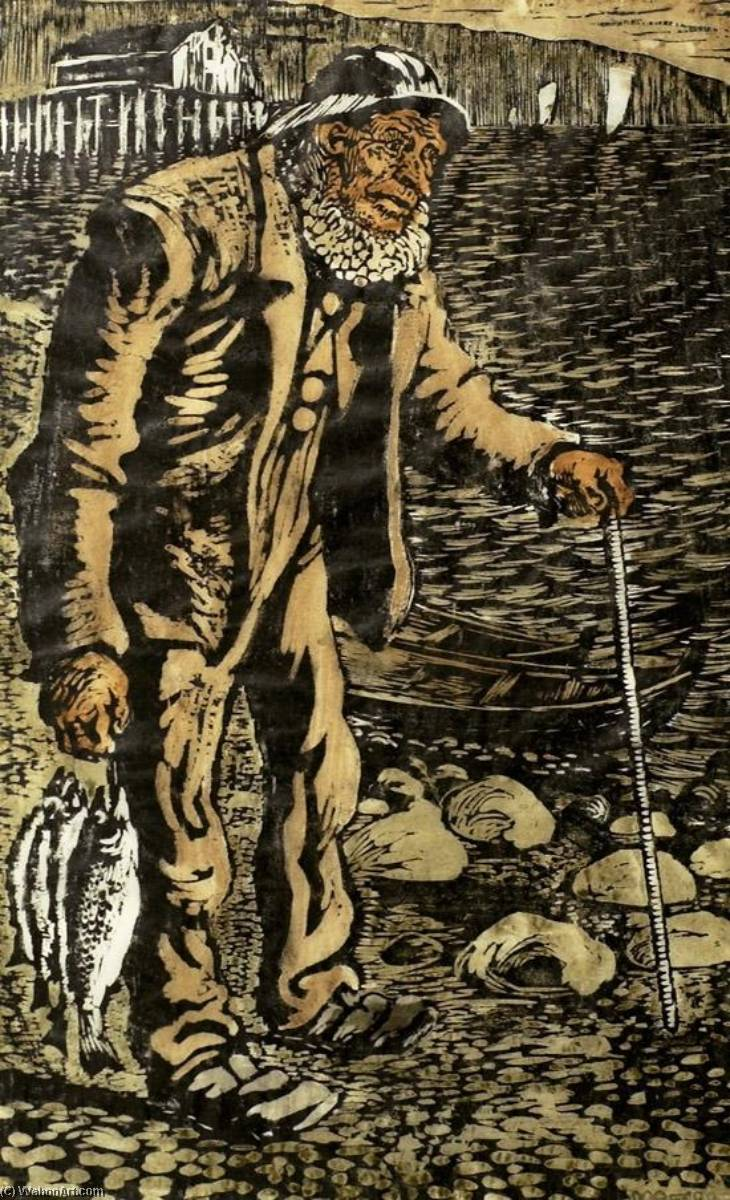 Fisherman, Wood by Nikolai Astrup (1880-1928)