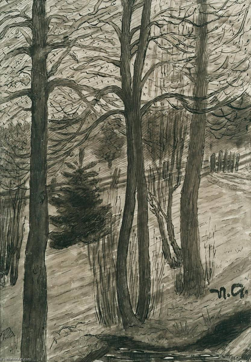 Naked Trees, Ink by Nikolai Astrup (1880-1928)