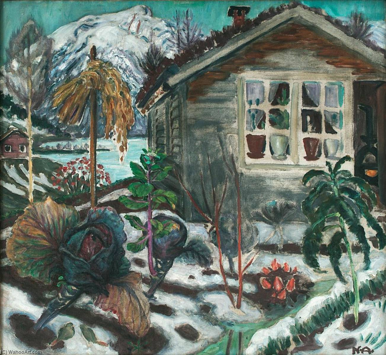 Early Snow, 1926 by Nikolai Astrup (1880-1928) | Oil Painting | WahooArt.com