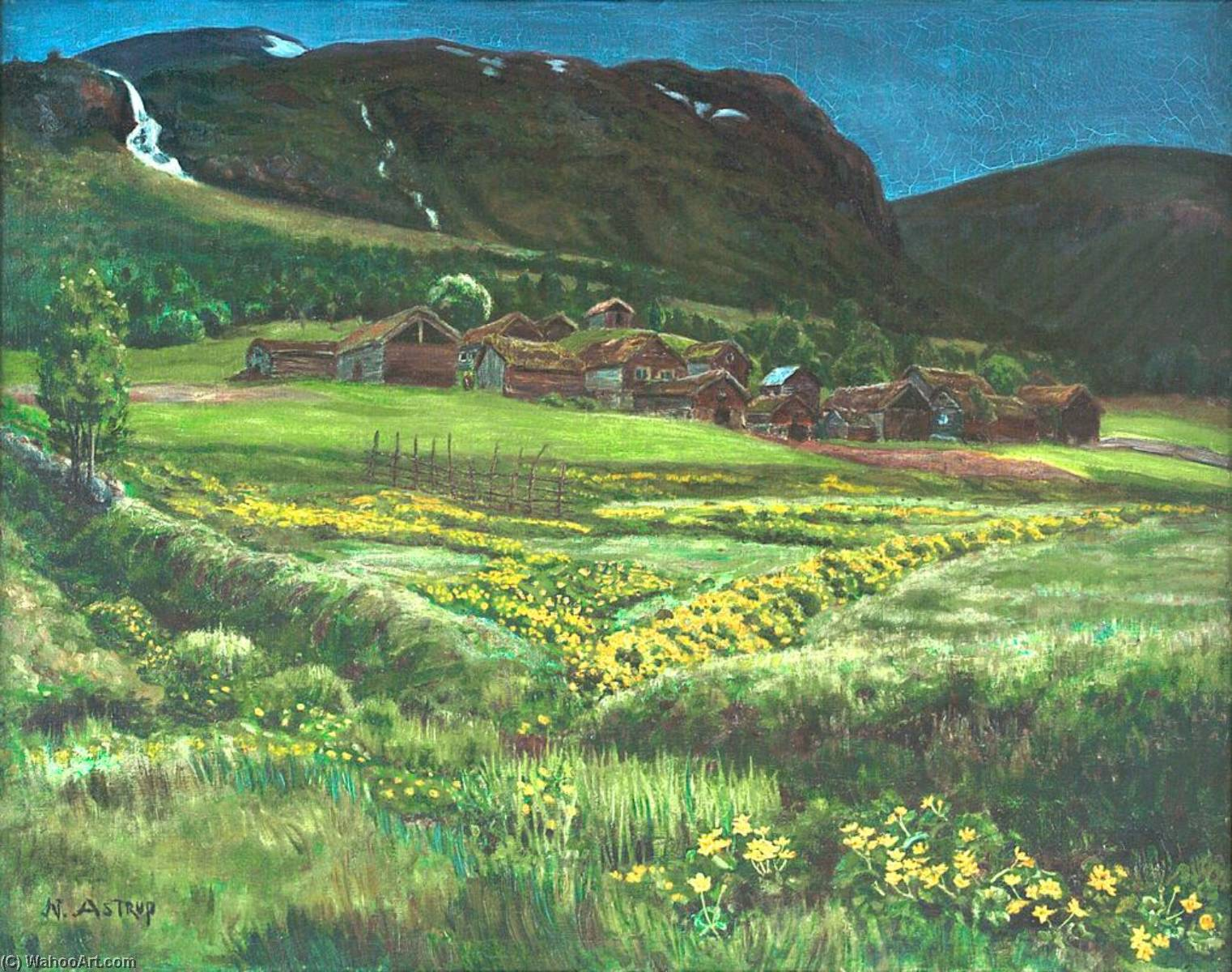 June Night and Old West Country Farmyard, 1908 by Nikolai Astrup (1880-1928) | Painting Copy | WahooArt.com
