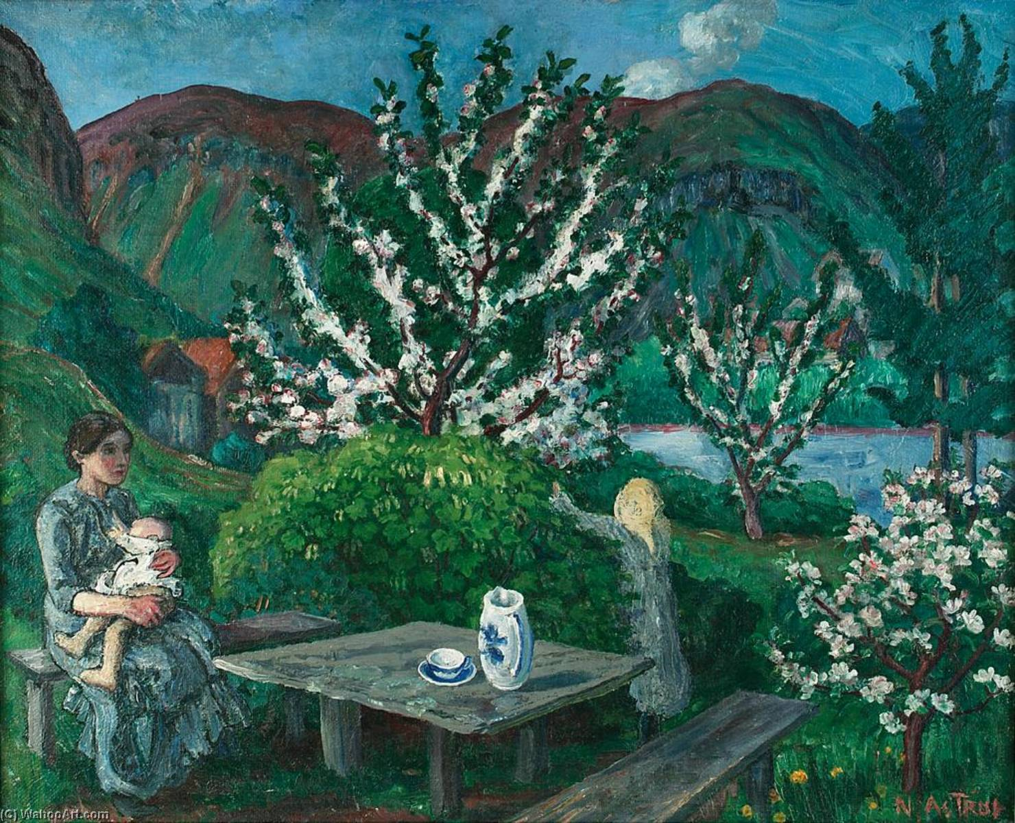 Mother and Child(ren ) by the Garden Table, Oil On Canvas by Nikolai Astrup (1880-1928)