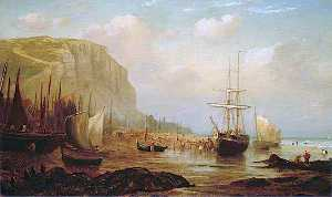 William Henry Borrow - East Cliff, Hastings, East Sussex, and Fishing Vessels