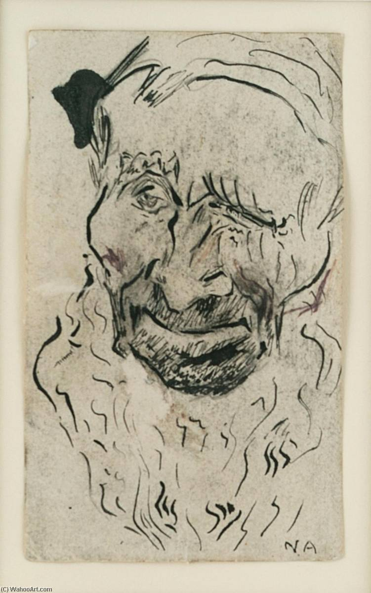 Head, Old Man with Beard, Pen by Nikolai Astrup (1880-1928)