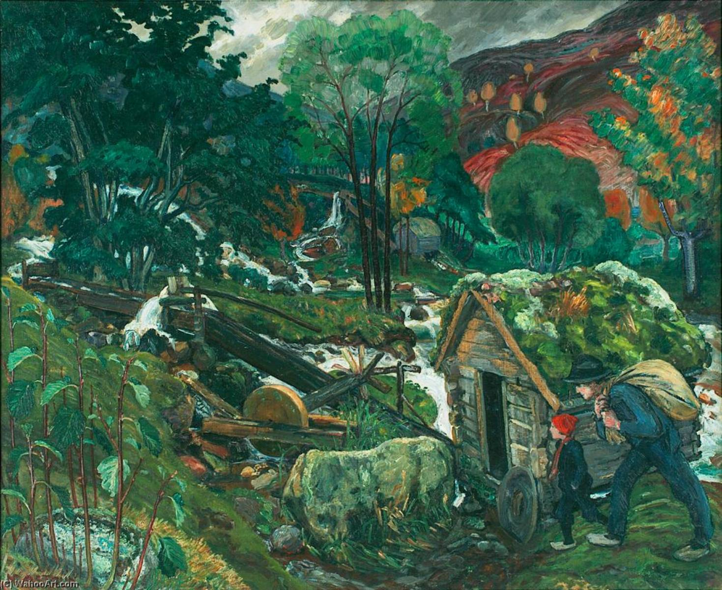 Mill Water, Oil On Canvas by Nikolai Astrup (1880-1928)