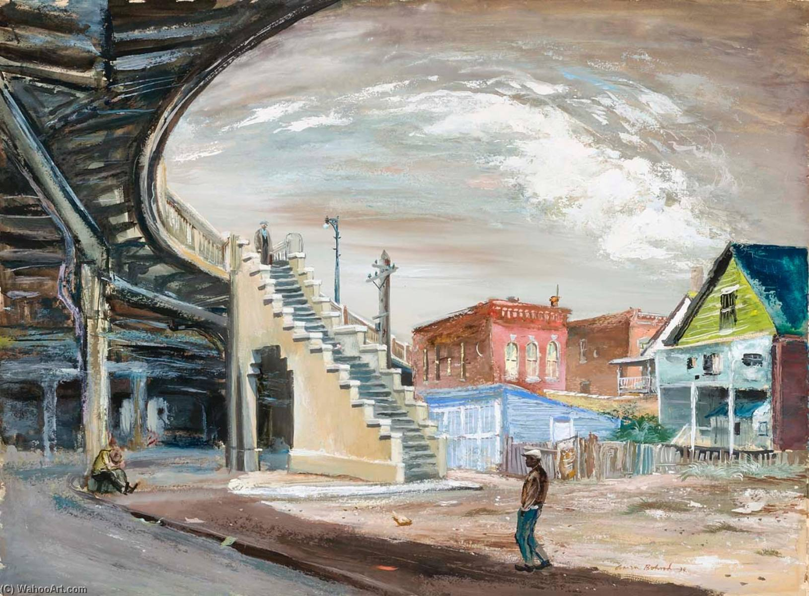 Ogden Avenue Viaduct, 1939 by Aaron Bohrod | Famous Paintings Reproductions | WahooArt.com