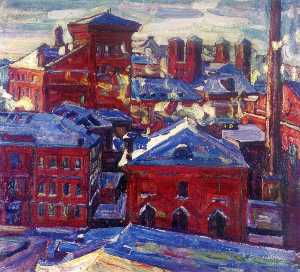 Abraham Manievich - Moscow, View Toward the Factory
