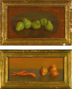 Alvin Ross - Carrots and Onions and Ripening Bartletts Two Paintings