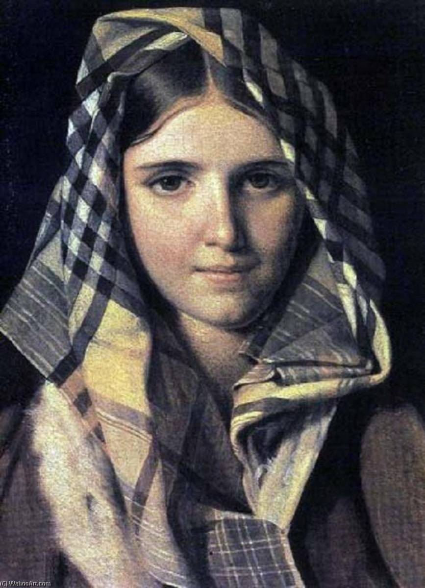 Girl in a Checkered Shawl by Alexey Venetsianov (1780-1847, Russia)