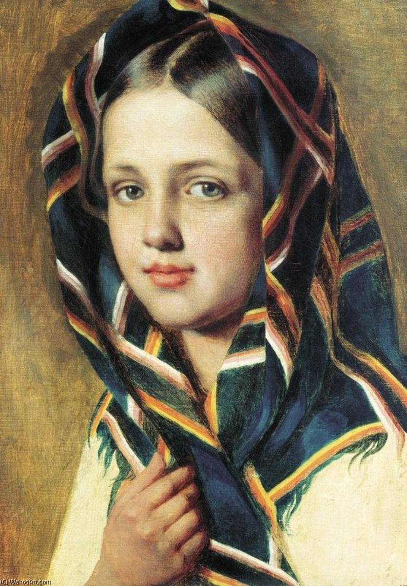 Girl in a Shawl by Alexey Venetsianov (1780-1847, Russia) | Oil Painting | WahooArt.com