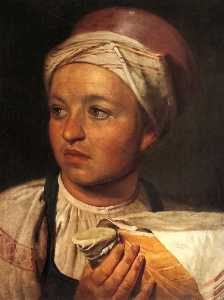 Order Painting Copy : Girl with a Bowl of Milk, 1824 by Alexey Venetsianov (1780-1847, Russia) | WahooArt.com