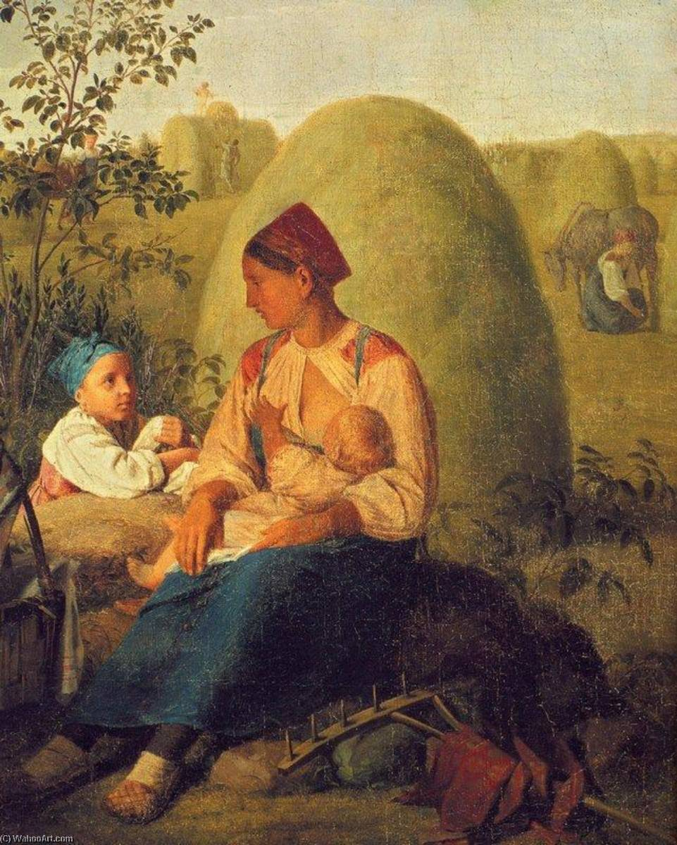 Haymaking by Alexey Venetsianov (1780-1847, Russia) | Famous Paintings Reproductions | WahooArt.com