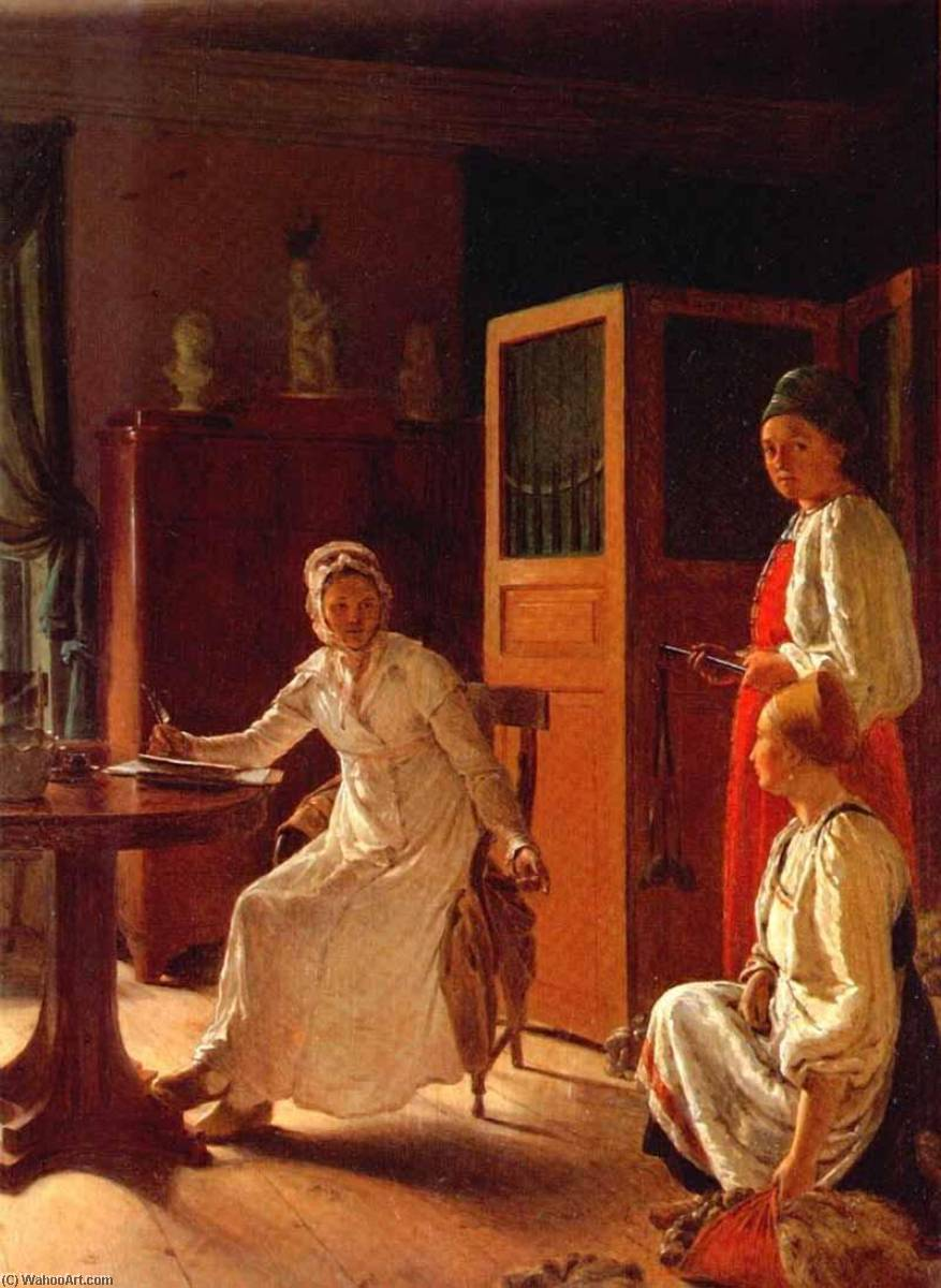 Order Art Reproduction : Morning of the Landlady, 1823 by Alexey Venetsianov (1780-1847, Russia) | WahooArt.com