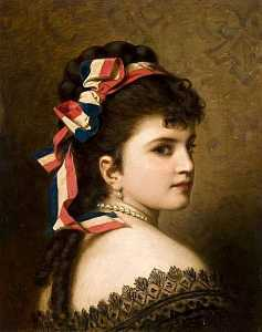Anton Ebert - Girl with a Tricolor Ribbon