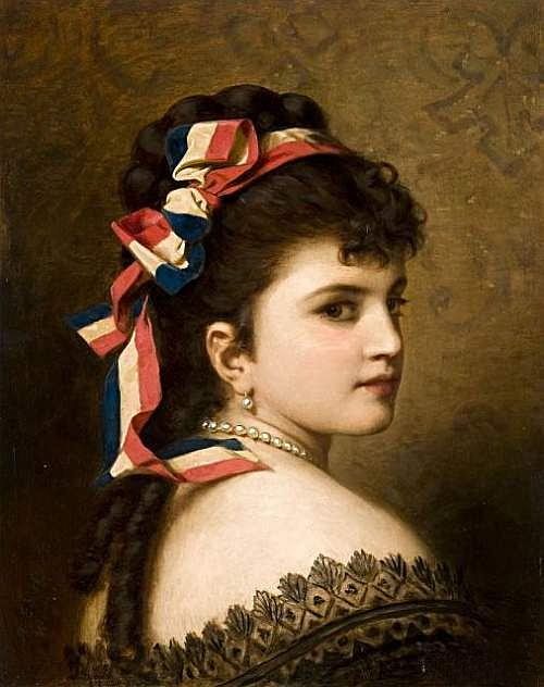 Girl with a Tricolor Ribbon by Anton Ebert