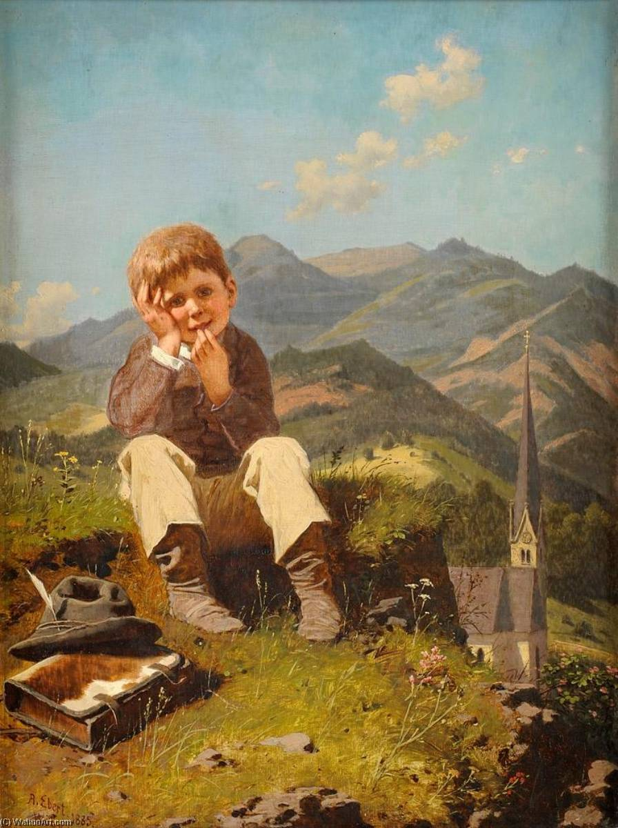 The Little Truant, 1885 by Anton Ebert | Famous Paintings Reproductions | WahooArt.com