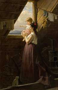 Anton Ebert - Mother And Child by the Window