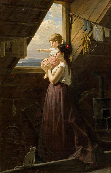 Mother And Child by the Window, Oil On Canvas by Anton Ebert