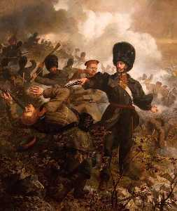 Louis William Desanges - Lieutenant Colonel Sir Charles Russell at the Battle of Inkermann, 5 November 1854