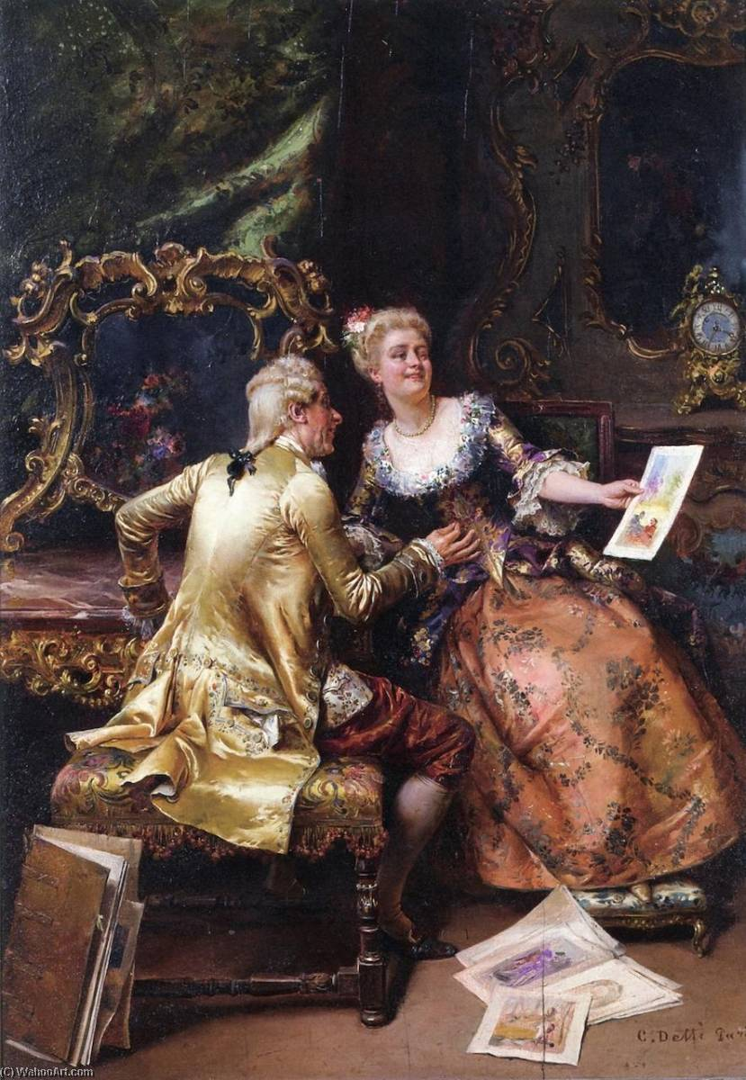 Her Drawing Master`s Critique, 1896 by Cesare Augusto Detti | Oil Painting | WahooArt.com