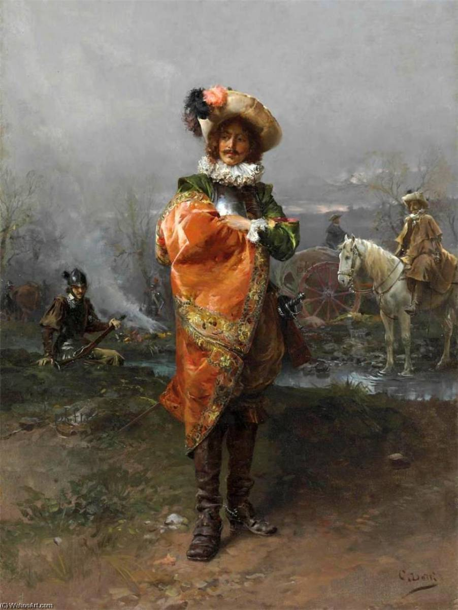A Gentleman in a Cloak by Cesare Augusto Detti | Painting Copy | WahooArt.com