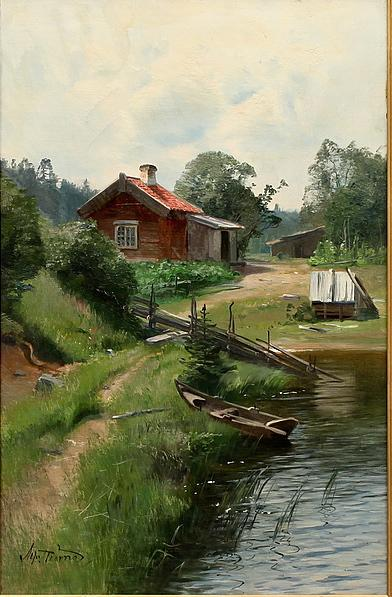 Order Reproductions | Landscape with Lake and Cottage by Alfred Thörne | WahooArt.com