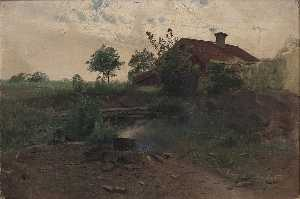 Buy Museum Art Reproductions | Landscape with a Red House by Alfred Thörne | WahooArt.com