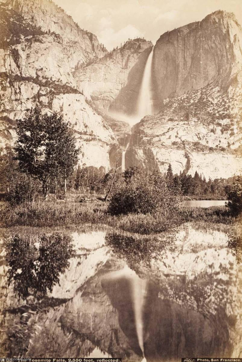 Yosemite Falls, Reflected, 1875 by Carleton Emmons Watkins (1829-1916, United States) | Paintings Reproductions Carleton Emmons Watkins | WahooArt.com