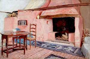 Ernest C Christie - Interior of Room in a Cottage at Chaldon, Surrey, with Fireplace
