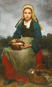Emile Auguste Hublin - A young girl holding a basket of eggs
