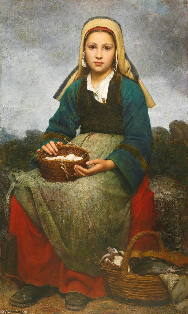 A young girl holding a basket of eggs, Oil On Canvas by Emile Auguste Hublin