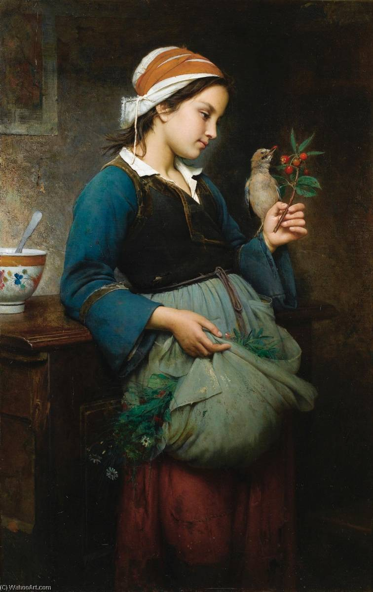 Fillette à l'oiseau, Oil On Canvas by Emile Auguste Hublin