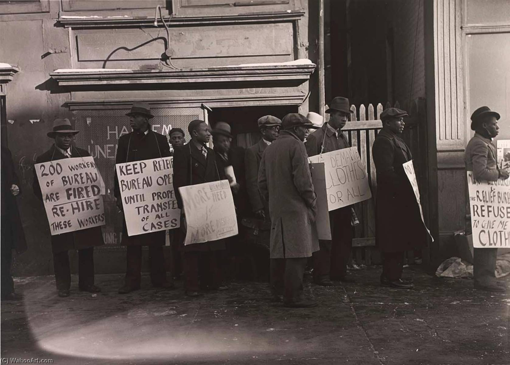 Unemployment Council Pickets, 1936 by Aaron Siskind (1903-1991, United States) | Museum Quality Reproductions | WahooArt.com