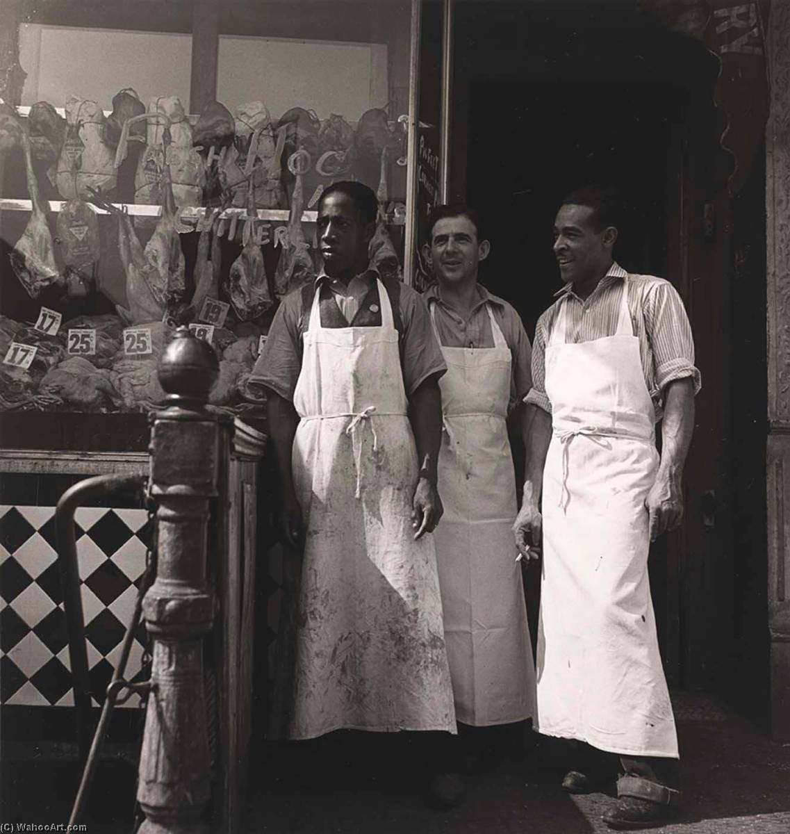 Meatmarket Owner and Butchers, from the project The Most Crowded Block, Print by Aaron Siskind (1903-1991, United States)