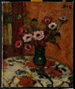 Georges Despagnat - Anemones on a Flowered Tablecloth