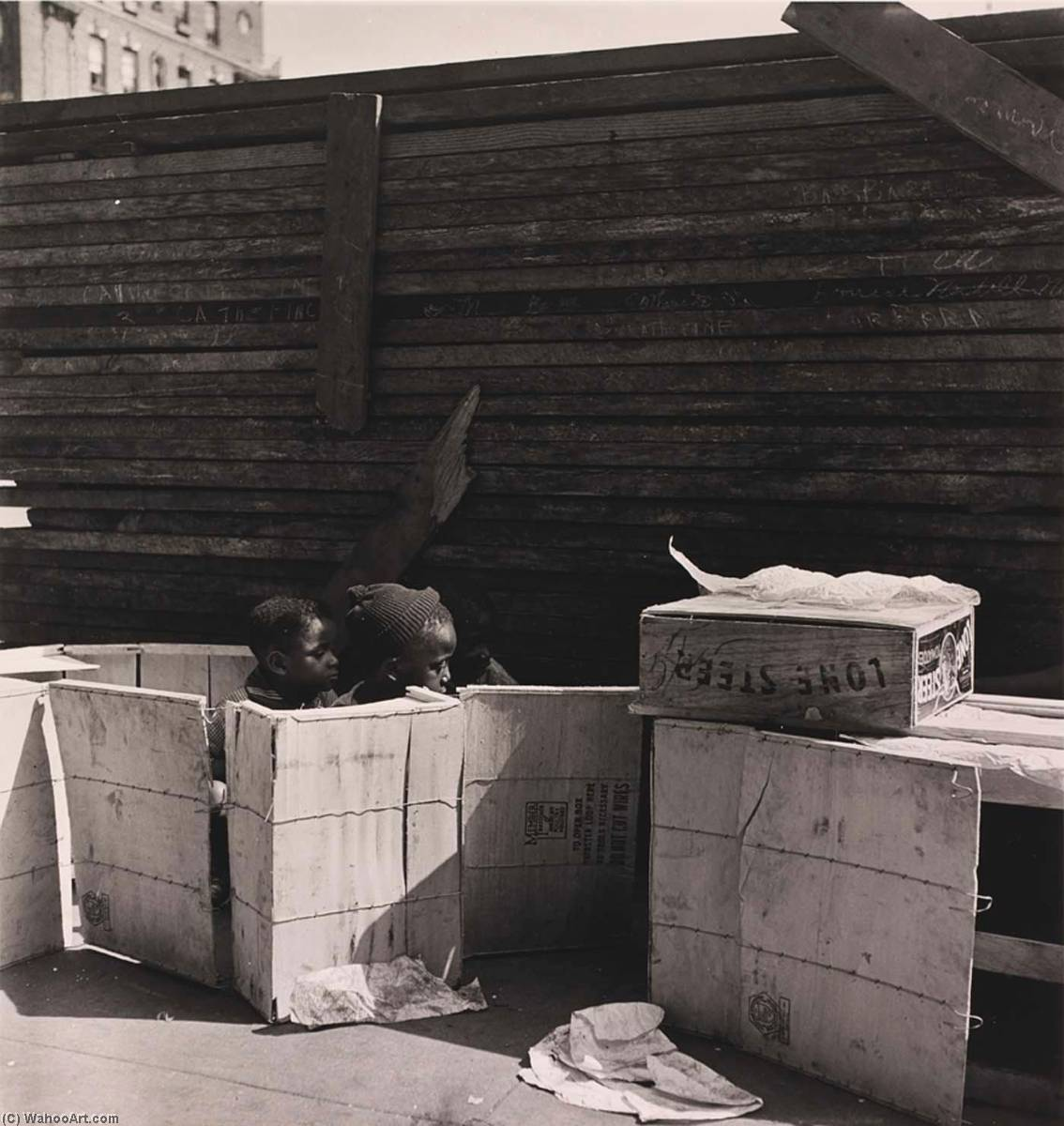 Untitled (Boys in Boxes), from the project The Most Crowded Block, 1940 by Aaron Siskind (1903-1991, United States) | WahooArt.com