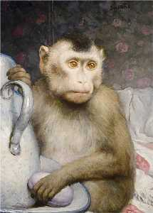 Gabriel Cornelius Ritter Von Max - Monkey with Pitcher