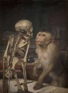 Order Reproductions | Monkey in front of a Skeleton by Gabriel Cornelius Ritter Von Max | WahooArt.com